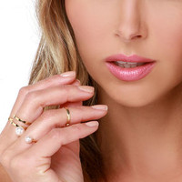 Five Spot Gold and Pearl Ring Set