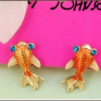 New Cool Betsey Johnson goldfish Crystal earrings Gift&Gift Box