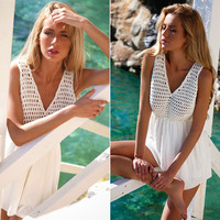 V-neck Sleeveless White Romper