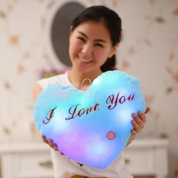 Cute Design Heart Glow LED Pillow Light Soft Cushion Gift Home Plush Children