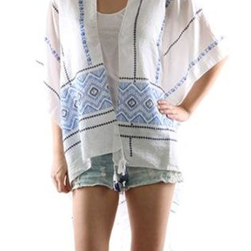 Scarf Tribal Print Cover Up Poncho Tassel