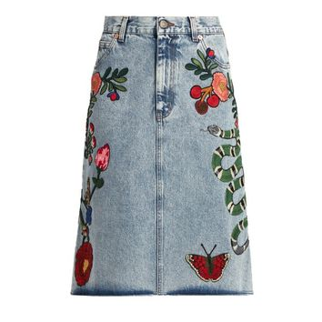 Indie Designs Gucci Inspired Embroidered Motif Denim Skirt