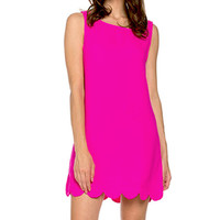 Hot Pink Scallop Party Shift Dress
