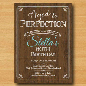 wood  birthday invitation, Aged to Perfection, Chalkboard Party Invitation for any age vintage design  invitation Design - card 327