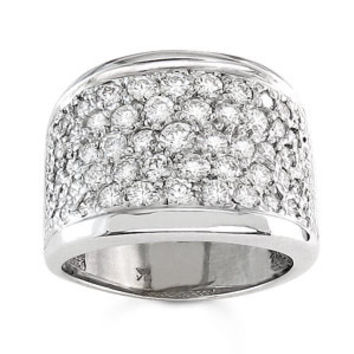 Ladies 18kt white gold wide pave diamond band 1.75 ctw G-VS2 diamonds