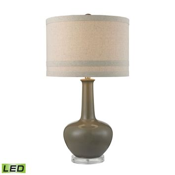 Ceramic LED Table Lamp in Grey Glaze And Acrylic