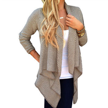 Best Price Spring and Autumn 2016 Women's Fashion Long Sections Irregular Dot Long-Sleeve Knit Cardigan Sweater Coat Size S-XL
