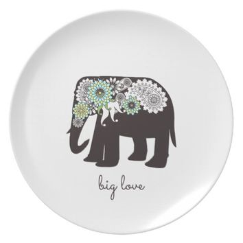 Paisley Elephant Love Girly Chic Personalized Plate