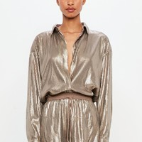 Missguided - Peace + Love Bronze Sequin Shirt