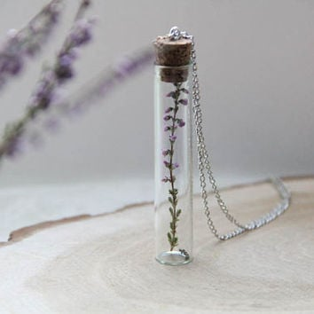 Bridesmaid Necklace. Botanical vial necklace preserved specimen corked top romantic heather, Perfume bottle