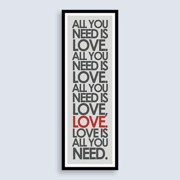 "The Beatles ""All You Need Is Love"" Print - 11.75x36 inches"