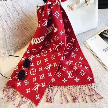 LV Louis Vuitton Supreme Classic Fashionable Women Men Cashmere Cape Scarf Shawl Scarves Accessories Red