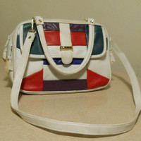 80s Colorblock Purse / Bag White Leather with Red, Green, Purple and Blue Indie Hipster