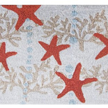 Homefires Accents Indoor Rug, 22 by 34-Inch, Starfish and Ocean Coral