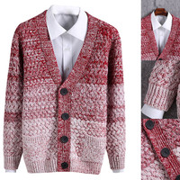 Red Knitted Button Detail Cardigan
