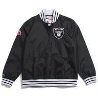 Oakland Raiders 1/4 Zip Nylon Pullover Jacket Black