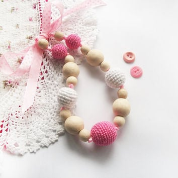 Pink white Nursing Crochet Teething Breastfeeding necklace / kangaroo teether / Nursing  /Gift For Babywearing Moms