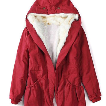 Red Shearling Lining Hooded Neck Pocket Detail Coat