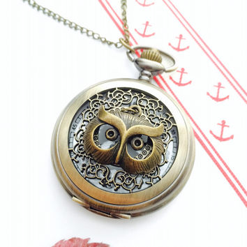 Steampunk Owl pocket watch antique bronze Necklace