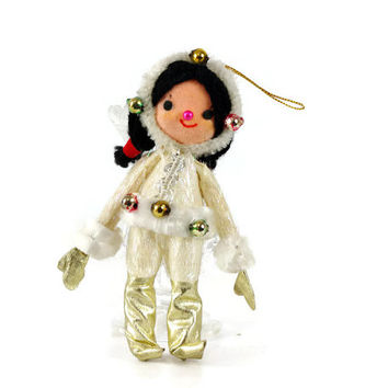 Vintage Christmas Ornament, Eskimo Girl