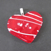 Red Fused Glass Heart Pendant, Jewelry Slide - Heart Flame - 3806-3