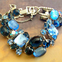 Weiss Sapphire Blue Bracelet Rhinestones Cabochons Silver Tone Vintage Signed