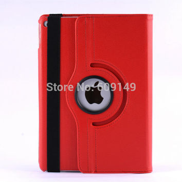 100pcs/lot Free shipping 11colours Litchi 360 degree rotating leather protective cover case for ipad 6 ipad air 2 shell