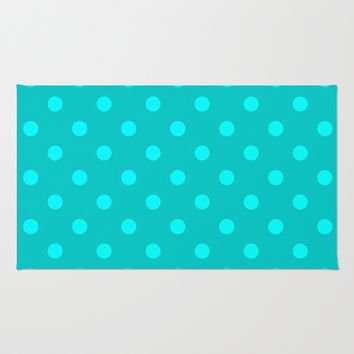 Misty Teal Polka Dot Area & Throw Rug by KCavender Designs