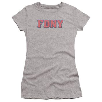 FDNY Juniors T-Shirt New York Fire Dept Logo Heather Premium Tee