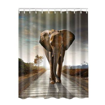 Animal  Decor Collection Seascape  Picture Print Bathroom Set Fabric Shower Curtain with Hooks