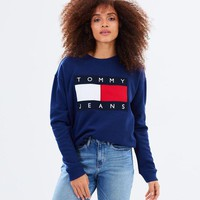 Tommy Hilfiger Embroidery Long Sleeve Top Sweater Pullover Sweatshirt
