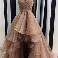 ZYLLGF Bridal Asymmetrical Beaded High Low Prom Dresses Short Front Long Back Organza Prom Gowns Special Occasion Dress TS69