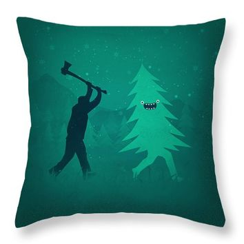 Funny,Cartoon,Christmas,Tree,Is,Chased,By,Lumberjack,Run,Forrest,Run,Throw,Pillow