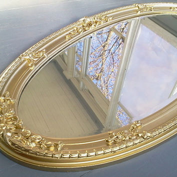 Antique, Mirror, Gorgeous, Ornate, Gold Mirror, Wall Mirror, Framed Mirror, Wood and Gilt Mirror, Large