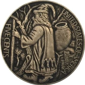 FATHER TIME Hobo Nickel 1937-D 3-LEGGED BUFFALO NICKEL RARE COIN CHRISTMAS