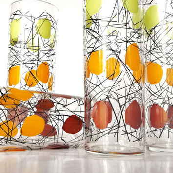 Federal Glass Co. Collins Glasses - Tall Cooler Glasses - Set of 4 - Mid Century Modern Bar Tumblers