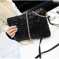 New Women Ladies Glitter Sequins Handbag Sparkling Party Evening Envelope Clutch Bag Wallet Tote Purse