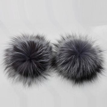 New Removable Real Silver Fox Fur Pom poms For Winter Fur Hats Fur Hairball Warm Knitted Beanies Caps With Snap Accessories