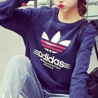 Adidas Fashion Letter Print Long Sleeves Top Sweater Pullover