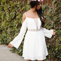 Flow Free Off Shoulder Dress - White