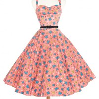 Nancy Dress in Mary Blair Butterflies Print in Peach