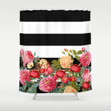Curtains Ideas black shower curtain with white flower : Shop Black And White Striped Shower Curtain on Wanelo