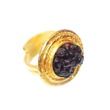 Cabochon Garnet Gold Plated Ring
