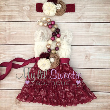 Original burgundy ivory tan 4 pc set, dress, necklace, sash, headband, birthday outfit, special occasion, holiday outfit