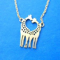 Giraffe Family Silhouette Shaped Charm Necklace in Gold