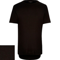 River Island MensPlain black ribbed t-shirt