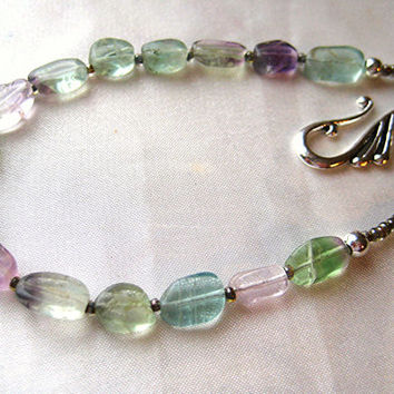 Long boho rainbow fluorite necklace. Simple jewelry. Lavender, purple, blue, teal, aqua, clear natural stones. Great for layering.