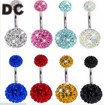 2017 Trendy Navel Piercing Jewelry Sexy Crystal Disco Round Ball Stainless Steel Belly Button Rings Body Jewelry Pircing Ombligo
