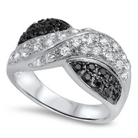 925 Sterling Silver Simulated Black Diamond Infinity X Ring 11MM