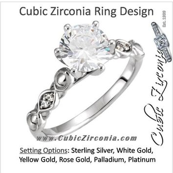 Cubic Zirconia Engagement Ring- The Terri (0.25-1.0 Carat Round-Cut Solitaire with Pillow-Inspired Band)